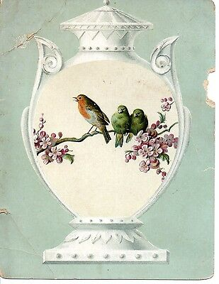 Lion Coffee Woolson Spice Co Victorian Advertising Trade Card Birds Blossom Urn