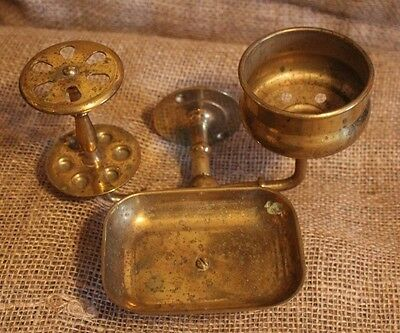 vintage brass Toothbrush Soap Dish Cup holder Antique wallmount Bathroom Fixture