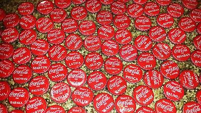 100 COCA-COLA BOTTLE Caps FROM  TANZANIA WITH NAMES-One in a lifetime collection