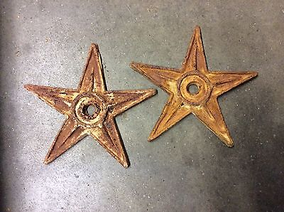 2 Antique Decorative Cast Iron Stars Tie Rod Anchor Plates Washers - N.r.