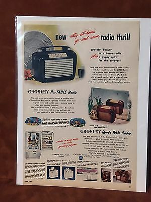 "Vintage 1947 ""Stay At Home And Roam"" Crosley Radio Print Ad"