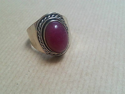 Sterling Silver Ring With Red/purple Stone - Size T, 7.5 Grams