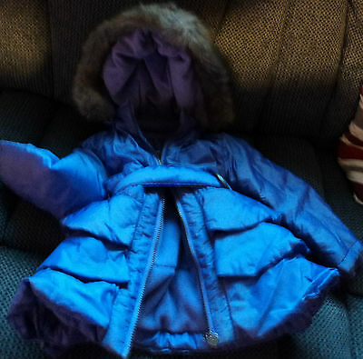 Lilac / Purple Girls Winter Coat Age 3 Includes Belt and Zipped Hood