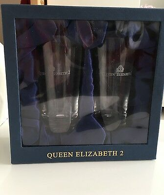 QE2 set of two GLASSES with QUEEN ELIZABETH 2 and Cunard logo etched on glass
