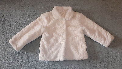 Girls Mothercare Faux Fur Coat Jacket Cream 5-6 Years