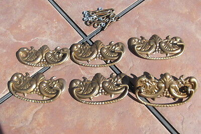 Set of 6 Antiqued Brass Drawer Handles with Back Plates