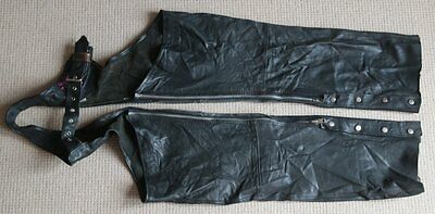Vintage Verducci Black Leather Chaps Size Small - Motorbike Worn