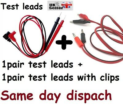 "2 pair 28"" Multimeter Test Leads Kit Clip Black and Red CP UK stock Freepost"