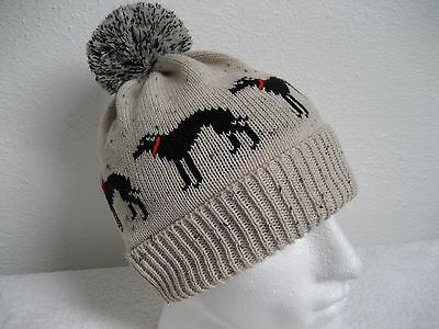Greyhound / Whippet Knitted Pompom Hat Cream With Black Dogs Adult Size
