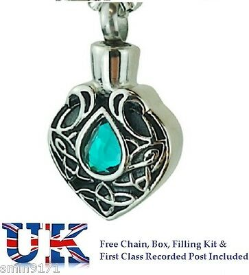 Cremation Jewellery Ashes Memorial Urn Pendant Keepsake Turquoise Teardrop