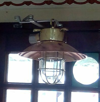 Vintage Marine Brass & Copper Passage Light With Deflected Cover