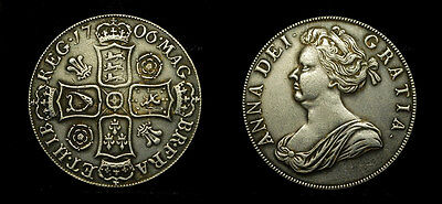 Great Britain -Crown 1706 - UK - Queen Anne - silvered/ pls/see discription