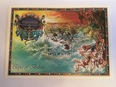 Belize Minisheet 1985 Mnh Cayes Of Shipwrecks Comet