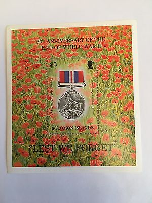Solomon Islands Minisheet Mnh 1995 Lest We Forget World War 2