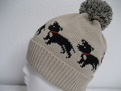 Staffordshire Bull Terrier Dog Knitted Beige Pompom Hat Adult Size