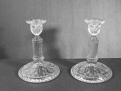 Pair Cambridge Glass Co - #3500/31  Rams Head Candlesticks - Rose Point Etch