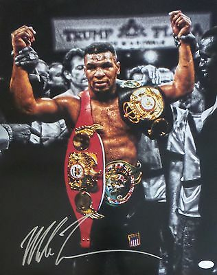 Mike Tyson Belts Vertical Signed Autographed 16x20 Photo JSA Authenticated