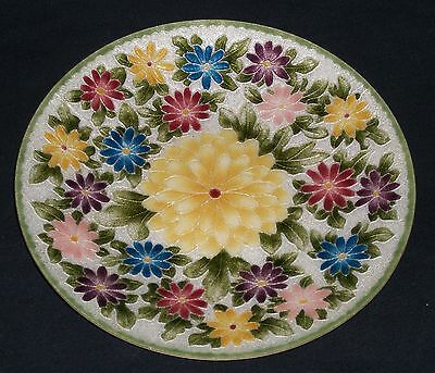 """ANDO Japan CLOISONNE Floral plate with Chrysanthemums 8 1/8"""" diameter"""