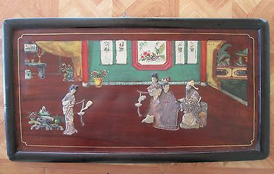 Antique Qing CHINESE painted PANEL w SOAPSTONE figure's insets inlay WOMAN  Man