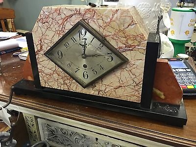 Beautiful Antique Art Deco French Marble Mantle Clock