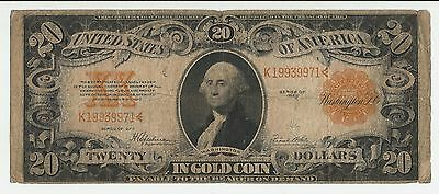 1922 $20 Gold Certificate george washington vintage currency