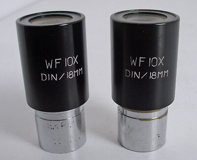 Pair Of Microscope 10X Wf Eyepieces With Pointers