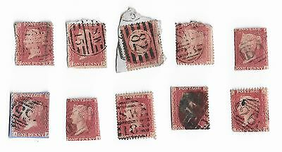 (ST012) 1841-1857 1d Red Stars x 10, Unchecked