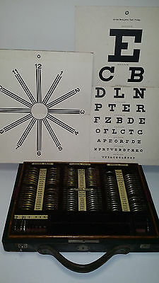Antique Trial Lens Set and Charts