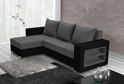 corner sofa bed storage shelves left right grey fabric black faux leather