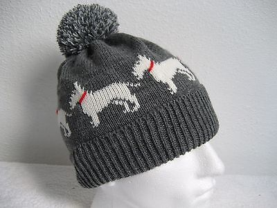Bull Terrier Dog Knitted Soft Grey Pompom Hat Adult Size