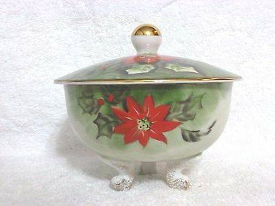 Vintage Lefton Poinsettia Footed Candy Box With Lid #4387