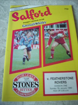 Salford v Featherstone programme 7.1.90