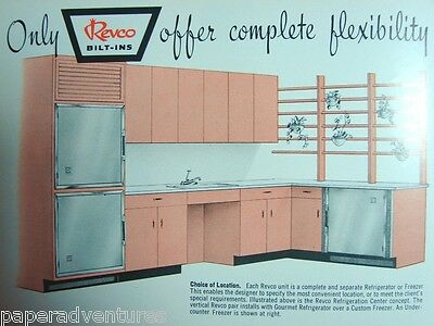 1958 REVCO Built In Kitchen REFRIGERATOR Freezer Retro Cabinets Vintage Catalog