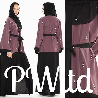 PEARL EMBLLISHMENT Dubai Style JACKET Abaya Maxi Dress Farasha Modest Wear