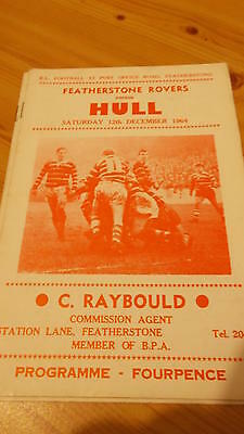 Featherstone Rovers v Hull programme 12.12.64