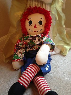 "Vintage 36 "" Handmade Raggedy Andy Doll, By Margaret Shott Collectibles"