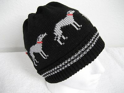 Greyhound / Whippet Dog Knitted Black Beanie Hat Adult Size