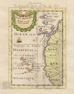 1685 Fine Mallet Map of Canary Islands, Cape Verde Islands
