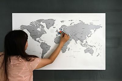 Large Size Personalized Scratch-Off World Map Silver Poster Travel