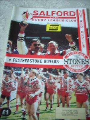 Salford v Featherstone Rovers programme 16.2.92