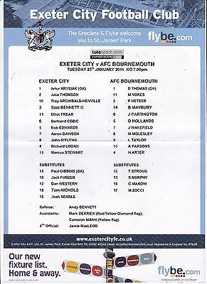 Exeter City V Bournemouth Reserves Combination League Teamsheet 25/1/2011