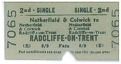BRB(E) Railway Train Ticket 7065 NETHERFIELD & COLWICK to RADCLIFFE 26MR65