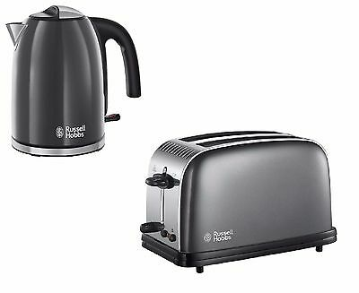 Russell Hobbs Colours Plus Storm Grey Kettle And 2 Slice Toaster Set