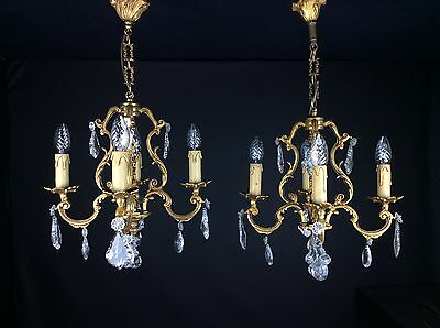 Beautiful Matched Pair Of Bronze And Crystal Antique French 4 Arm Chandeliers