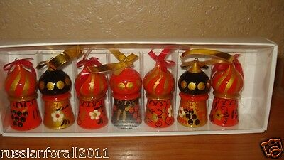 SET OF 7 HAND PAINTED russian khokhloma wooden christmas tree toys decor TOWERS