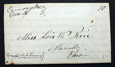 Conway 1845 Stampless Cover to Marietta Ohio 10c  - Vorphila Brief (L-214
