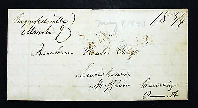 1840 US Stampless Cover to Reuben Hale Lewistown - USA Vorphila Brief (L-223