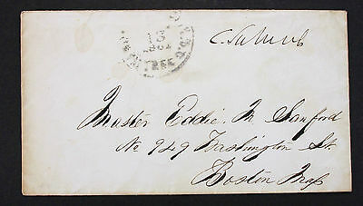 Washington 1861 Free Date Cancel Stampless Cover to Boston Vorphila Brief (L-227
