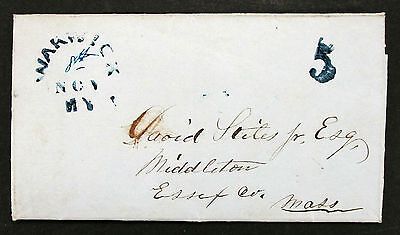 Rare Blue Warwick Cancel no Circle Stampless Cover 5c - Vorphila Brief (L-224