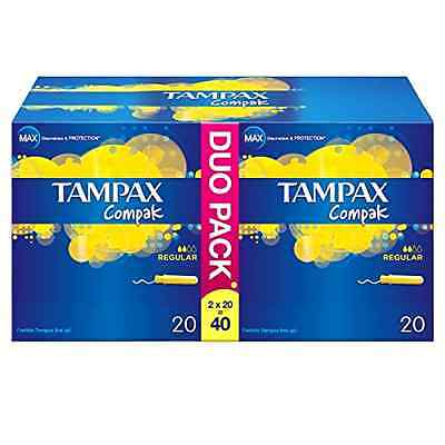 Tampax Compak Regular Applicator Tampons - Pack of 40 FAST FREE SHIPPING